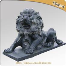 DKG87 Black polished Marble Lions Sculptures Outdoor Decoration