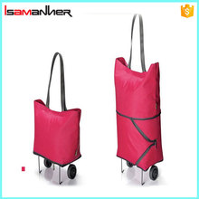 Custom shopping bag with roller, two way foldable trolley shopping bags wholesale
