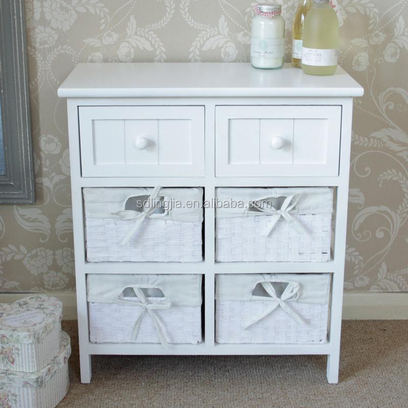 Rustique blanc peint moderne salle de bains meuble lavabo avec panier en ro - Meubles en rotin blanc ...