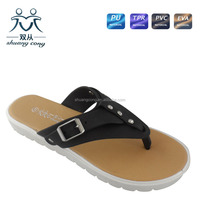 2016 newest style PCU sole fancy flip flop with buckle slipper for lady