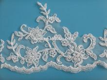 Cordón de tipo de producto de la perla de marfil con cable moldeado nupcial lace trim para vestido de novia,