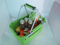 portable aluminum polyester foldable picnic shopping storage supermarket basket PG-8S-009