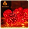 Event Decorative Lighting Red Battery Operated indoor Rattan Ball LED Christmas String Lights