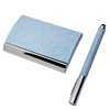 Promotional leather card holder set with pen
