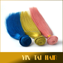 100g/bundle 8-30 inch Remy Human Hair Silky Straight Weft/Weave Extensions Pink Yellow Blue Color