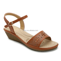 Comfort pu upper fashion wedge brown classic casual ladies sandal chappal