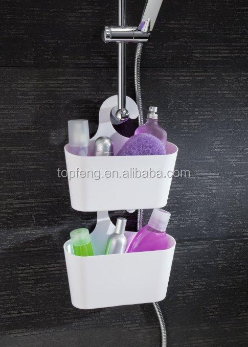 en plastique salle de bains douche caddy avec crochet en plastique de bain bo te de rangement. Black Bedroom Furniture Sets. Home Design Ideas