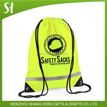 whoelsale 420d polyester Reflective drawstring bag with a reflective band