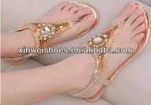 Women golden flat indian style ladies sandals