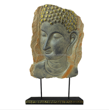 Philippines Antique Large Resin Buddha Statue Head For Sale With Bronze Home Decoration Table Deco Folk Arts And Crafts Supplier