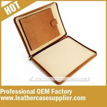 China Leather Supplier leather zipped folio