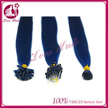 Qingdao factory black girl i tip u tip hair extensions unique micro ring pre-bonded hair relax color diamond blue