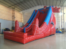 2015 new attractive funny inflatable spiderman slide