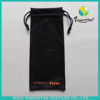 Wholesale black sunglasses bag with orange printing , Wuxi sunglasses bags split joint with dots and black wholesale