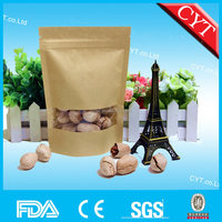 ziplock stand up kraft paper bag for food