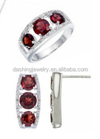 Diamond and Garnet 3 Stone Set Silver earrings rings