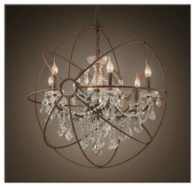 k9 Glass Iron Vintage orb Asfour Crystal Chandelier Rustic finished