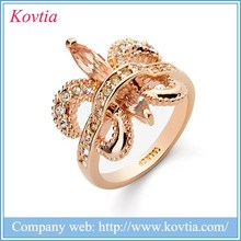Excellent 18k gold plated jewelry dubai wholesale market butterfly zircon engagement ring for promotion price