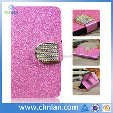Fashion luxury bling Diamond custom design wallet leather case for iphone4 /4s