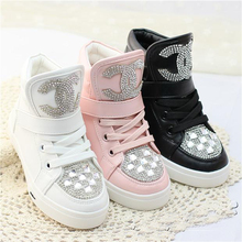 2014 new shoes for girls kids sparkling rhinestones PU leather upper children's boots in pink white sneakers toddler shoes kids