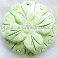 Fashion jewelry, carved flower natural turquoise pendant