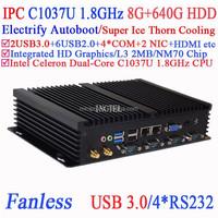 Low-power industrial pcs Auto Boot Intel Celeron C1037U 1.8G USB 3.0 Dual Gigabit Lan 4 COM 8G RAM 640G HDD Windows Linux