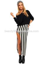 2014 nuevas señoras de las mujeres Negro Blanco adulto larga rayada falda Falda maxi Whoelsale