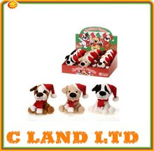 15 inch Christmas dogs 3 assorted with Santa's cap
