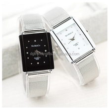 Popular Square Couples Lovers Stainless Steel Mesh Belt Wrist Watch White Black Face