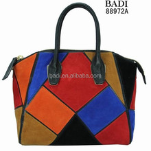 Many colors high quality genuine leather hot selling brand design ladies handbag