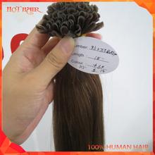 New Arrival Straight Brown Brazilian Pre-bonded Human Hair Extension Cheap 8A Wholesale Brazilian Virgin U-Tip Human Hair Weave