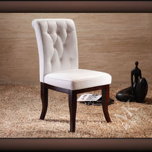2015 wood white leather dining chair ML21 with buttons in foshan