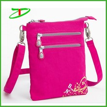 Custom nylon mini ziplock pouch bag with shoulder strap