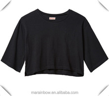 100% pure Organic Cotton Solid black Crop Tee, welcome your logo for printing or embroidery custom made