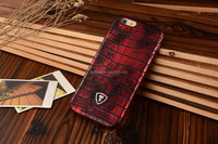 Red Crocodile print case, PU leather, thin design for iphone
