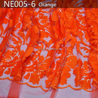 NE005-6 orange new design embroidery high quality African net lace for party and weeding