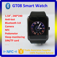 """1.54"""" HD LCD 0.3 Million Camera Bluetooth 3.0 OEM ODM GT08 Android Smart Watch"""