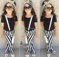 2015 girl suit fashion baby girls clothing set black short sleeve t-shirt+ striped pant 2-6T