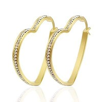Yellow Gold Filled Titanium Jewelry with Zircon Big Heart Huggie Earring