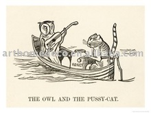 (edward-lear-the-owl-and-the-pussy-cat-went-to-sea-in-a-beautiful-pea-green-boat)art canvas on aluminum