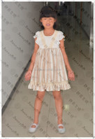 2015 New ivory stripe casual summer baby girls boutique dress