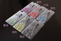 Girl Dressed Bling Studded Shining Glitter Rhinestone Hard PC Plastic Cover Case Protector for Apple iphone 6 4.7''