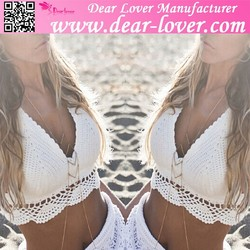 custom 2015 Top quality Cool White Sexy Lady Crotchet Crop Top