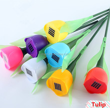 Factory directly sale tulip style outdoor decorative lights pin lamp solar energy led garden post light