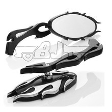 BJ-RM-013 High quality flame style chrome motorcycle parts fancy mirror