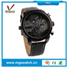 Cheap promotional sport design watches black leather watches for young