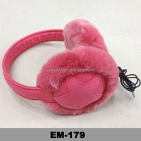 fur earphone head band leather ear muff headphone in ear muffs