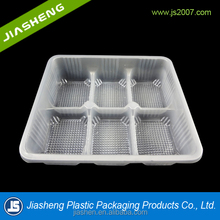 Hot sale and customized high quality 6 compartments disposable plastic biscuit tray /packaging/container