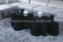 hot selling glass top coffee table with stools pu venner