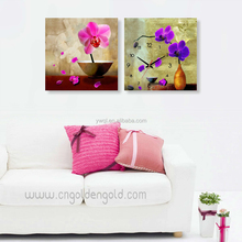 Fashion quartz promotion wood home decoration retro flower wall clock